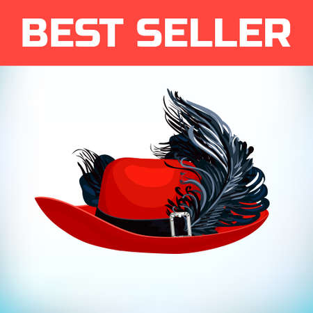 Hat musketeer France or pirate old hat with feather, made of felt or leather with an iron buckle. Illustration