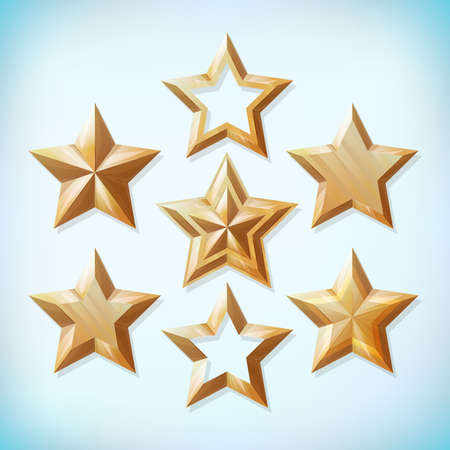 Realistic gold star set. Award icon collection.