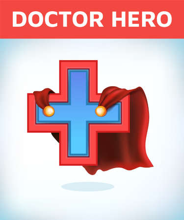Equilateral cross in hero cape. Doctor super cloak. Pharmacy sign. Medicine concept.