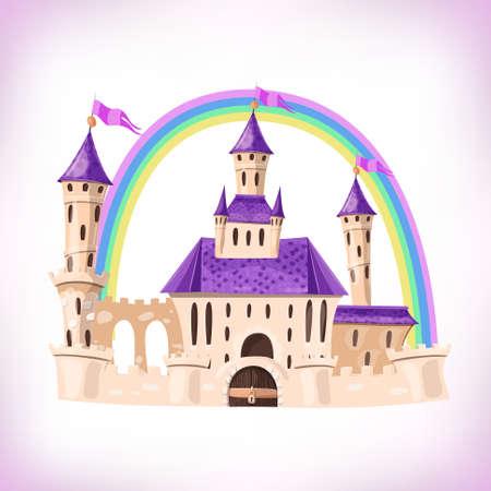 FairyTale castle. Cartoon castle. Fantasy fairy tale palace with rainbow. Vector illustration.