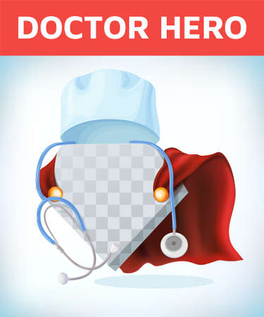 Super doctor sign. Superhero doctor with hero cloaks. Healthcare vector concept. Medical concept. First aid. Healthcare workers vs covid19.