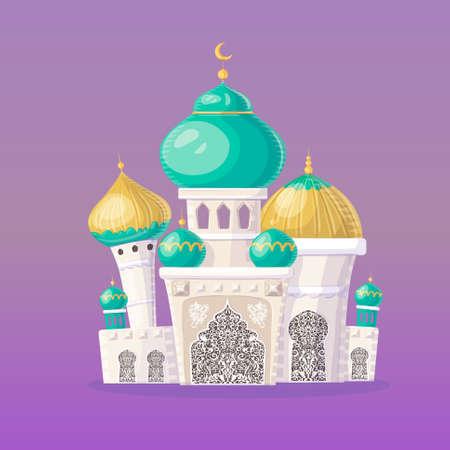 Muslim castle. Cartoon Islamic mosque. vector illustration.