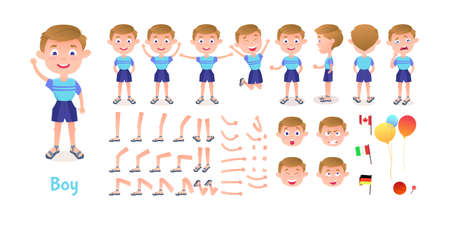 Boy character constructor. Cartoon boy creation mascot kit. Character creation set poses and emotions for animation and illustrations