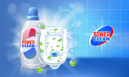 Toilet cleaner gel ads. Vector realistic Illustration with top view of toilet.