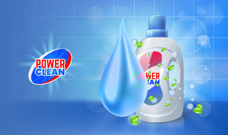 Cleaner gel. Antibacterial gel for cleaning bathroom. Vector realistic Illustration with plastic bottle of liquid gel. Liquid detergent for dirty laundry, toilet or sink cleaner.