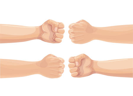 Two fists punching each other. Two clenched fists bumping. Conflict, protest, brotherhood or clash concept. Vector cartoon illustration.