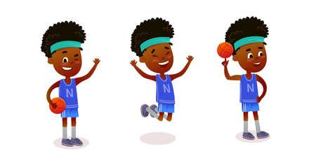 Boy character. Cartoon boy mascot kit. Character set poses. Cute little cartoon boy.