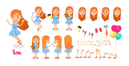 Girl character constructor. Cartoon girl creation mascot kit. Character creation set poses and emotions for animation and illustrations. Cute little cartoon girl