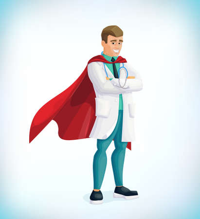 Super doctor cartoon character. Superhero doctor with hero cloaks. Healthcare vector concept. Medical concept. First aid. Healthcare workers vs covid19