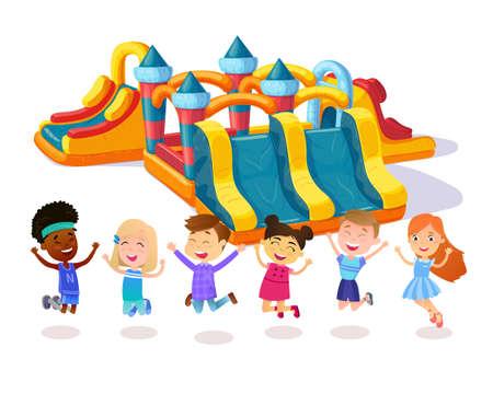 Castle child playground. Happy friends. Children jumping on playground. Stock Photo
