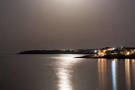 impassive: Night view at Black sea in Sozopol, Bulgaria