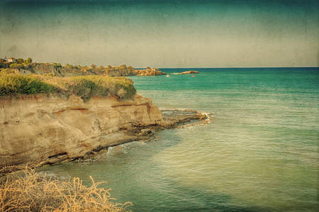 sinlight: Vintage card with Mediterranean seascape.