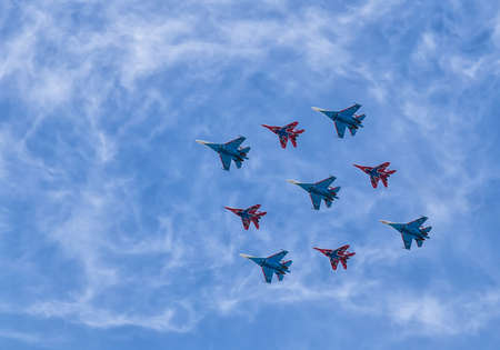pilotage: Group pilotage of the russian aerobatic teams at the airshow during the Victory Day parade. Moscow Russian Federation May in September 2015. Editorial