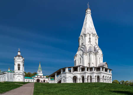 standalone: Church of the Ascension and a standalone belltower in Kolomenskoye park former royal estate Moscow Russia. Stock Photo