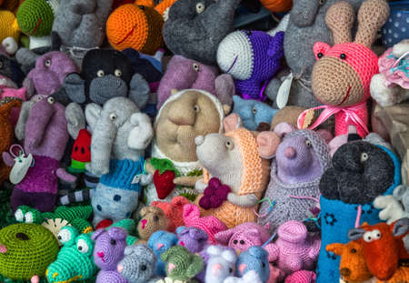 toy shop: Handmade toys sold at the street market. Stock Photo