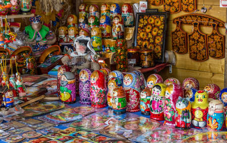 russian nested dolls: Traditional russian souvenirs are sold at the street market.