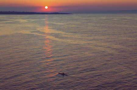 purple sunset: Purple sunset at the sea Stock Photo