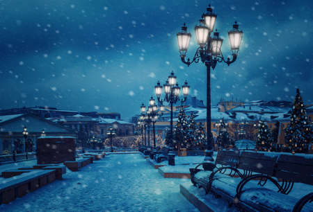 Manezhnaya square decorated with Christmas trees.