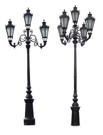 Set of 2 vintage street lampposts isolated on white Фото со стока
