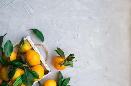 Fresh organic tangerines with leaves in white wooden tray on light concrete