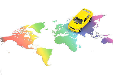 Toy car and world map Stock Photo - 11968057
