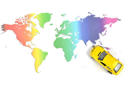Toy car and world map Stock Photo - 11968087