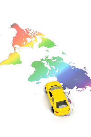 Toy car and world map photo