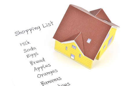 Model house and shopping list photo