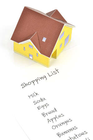 Model house and shopping list Stock Photo - 12067603