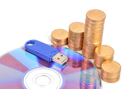 DVD and USB disk with coins photo