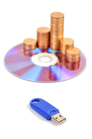 gigabytes: DVD and USB disk with coins