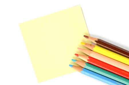 postit note: Post-it note and pencils Stock Photo