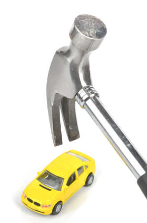 rende: Hammer and toy car Stock Photo