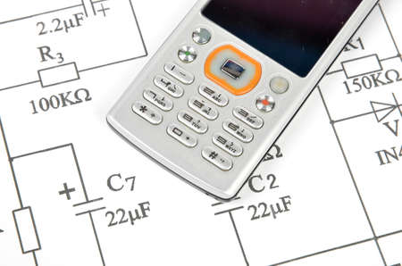 Circuit diagram and mobile phone Stock Photo - 12167028