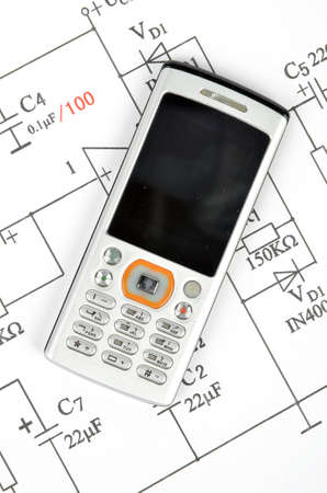 Circuit diagram and mobile phone Stock Photo - 12167072