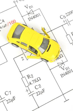 Circuit diagram and toy car photo