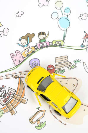 Children's drawing and toy car Stock Photo - 12126377