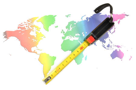 cm: World map and steel tape Stock Photo