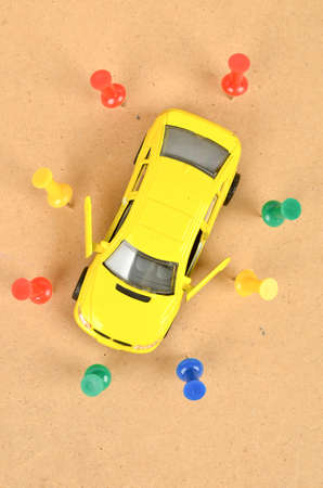 besiege: Toy car and push pin Stock Photo