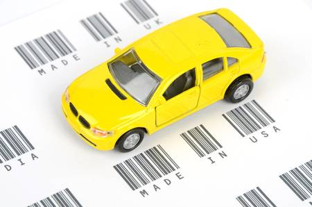 Toy car and bar code photo
