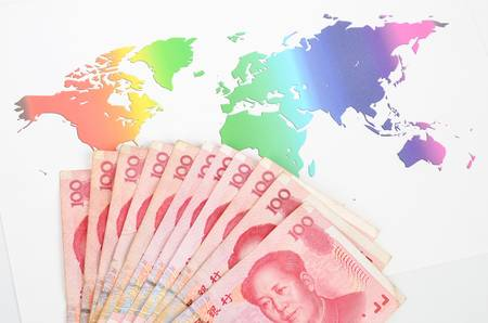 renminbi: Chinese currency and world map