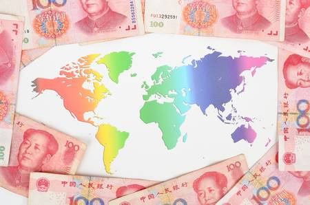 mapa china: Moneda china y mapa del mundo