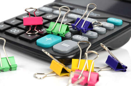 Calculator and paper clips photo