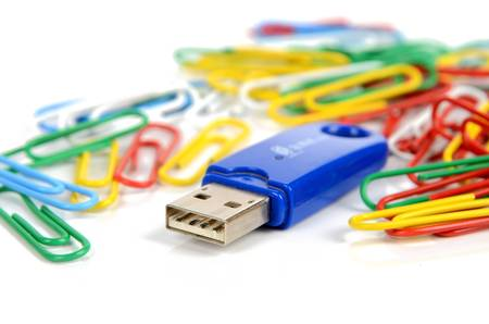 gigabytes: USB disk and paper clips Stock Photo