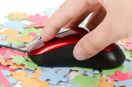 Computer mouse and puzzle photo