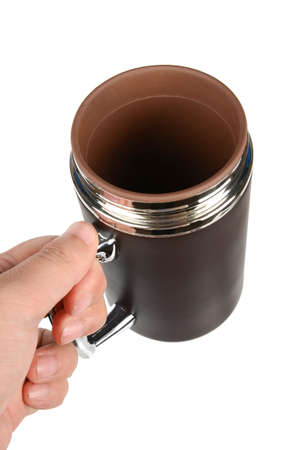 insulated: hand holding insulated flask