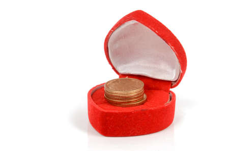 Coins in gift box photo