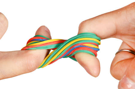 Rubber band and hand photo