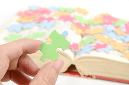 Puzzle and dictionary photo