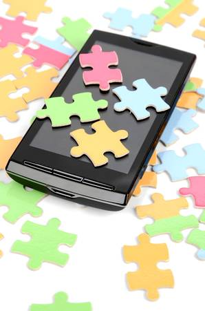 Puzzle and smart phone photo